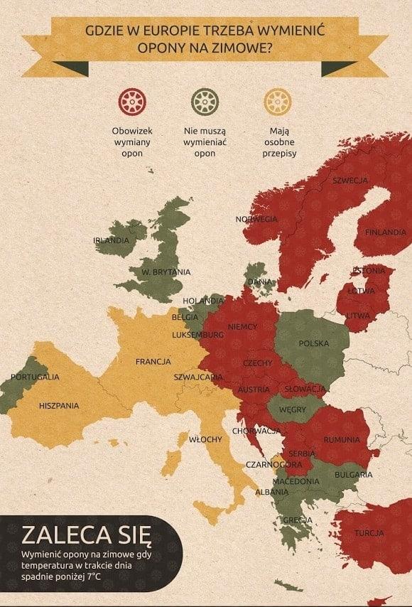 W których krajach Europy jest obowiązek zmiany opon?